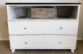 Old & Red to Rustic & White: DIY DresserRefurbish